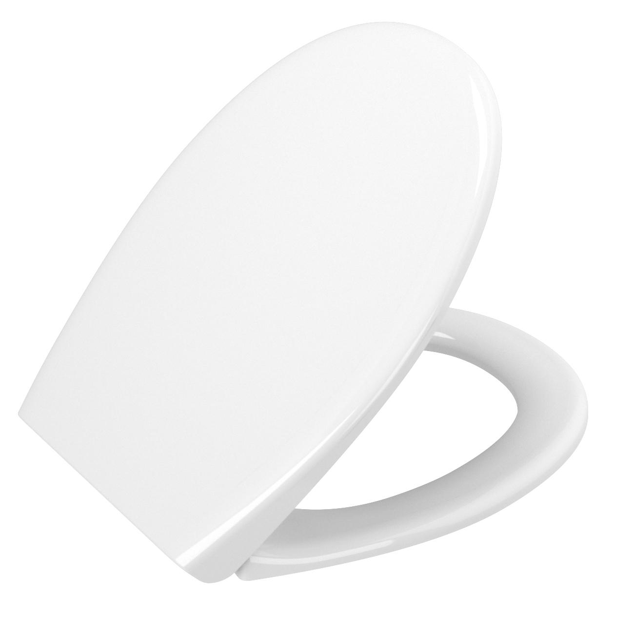 S20 WC-Sitz Universal, zu runden spülrandlosen WCs mit Absenkautomatik, Weiß Hochglanz