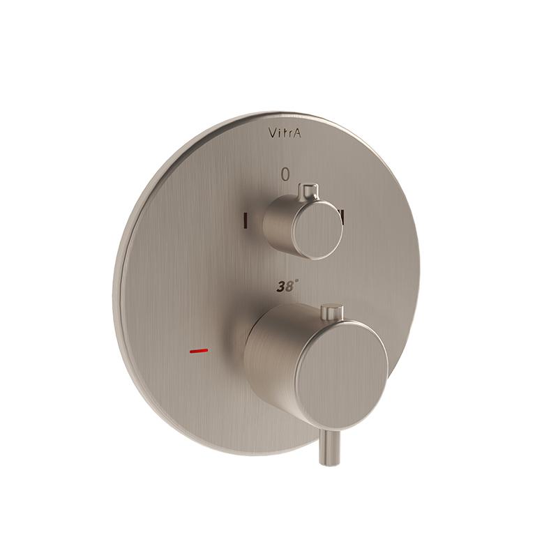 Origin mitigeur thermostatique bain / douche à encastrer (pour V-Box), ronde, surface nickel brossée
