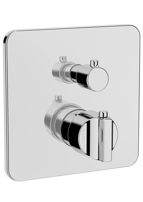 Suit L / U mitigeur thermostatique bain / douche à encastrer (pour V-Box), chromée