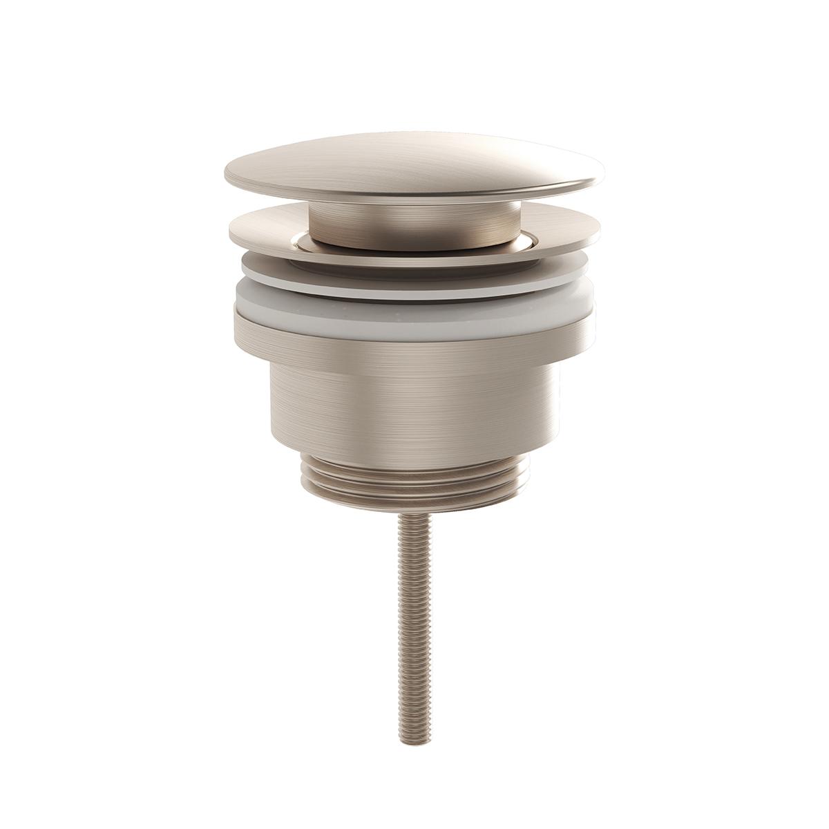 """Schaftventil Metall runde Form G 1 1/4"""", Nickel gebürstet"""